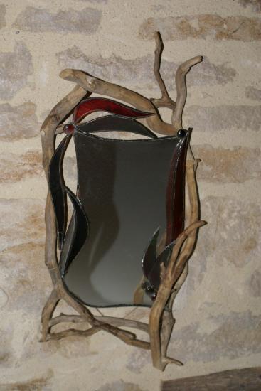Miroir verre et bois flotte for Verre et miroir