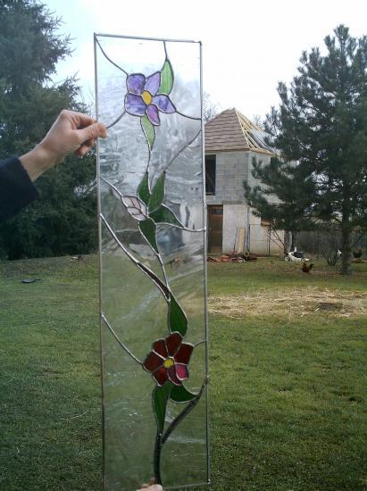 Vitrail pour portes bibliotheq modele fleurs - Cours de decoration d interieur gratuit en ligne ...
